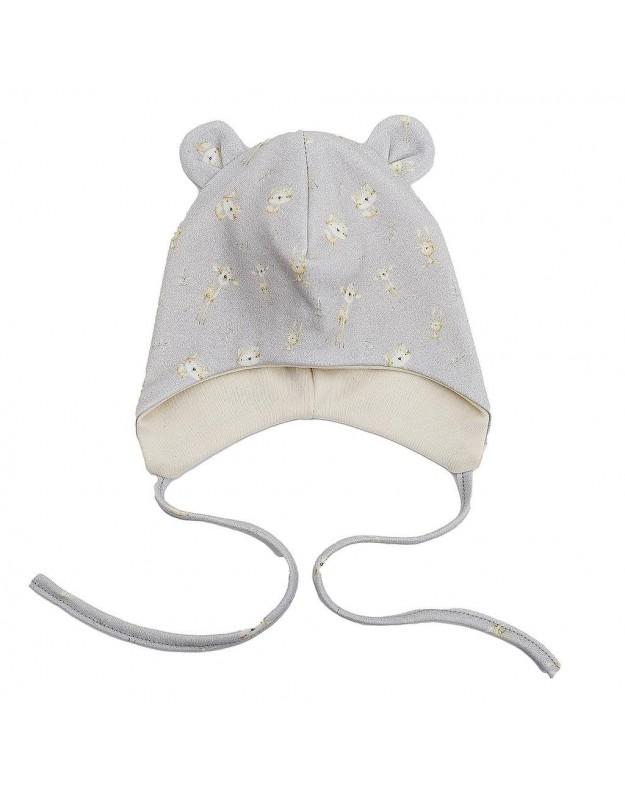 Kepurytė su ausytėmis ir raišteliais kūdikiui