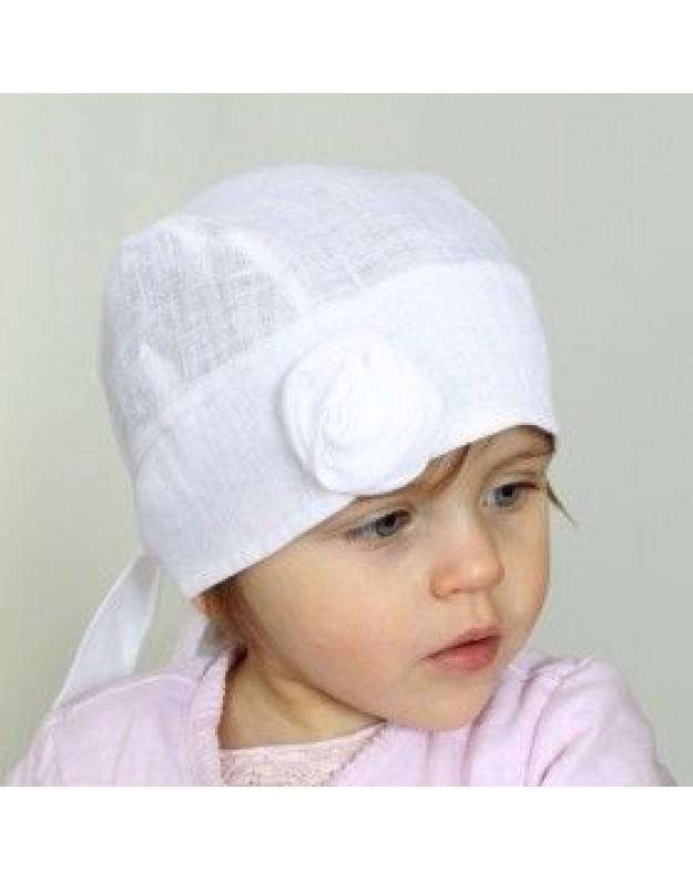 Balta lininė kepurytė skarelė mergaitei