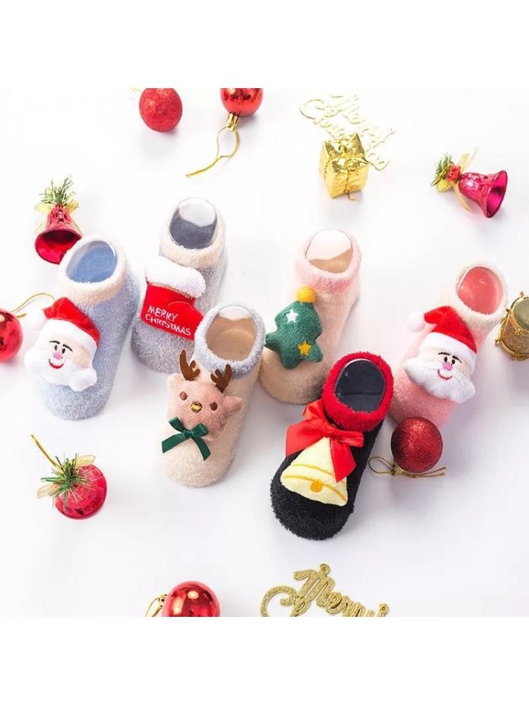 Kalėdinės šiltos kojinytės kūdikiams su ABS