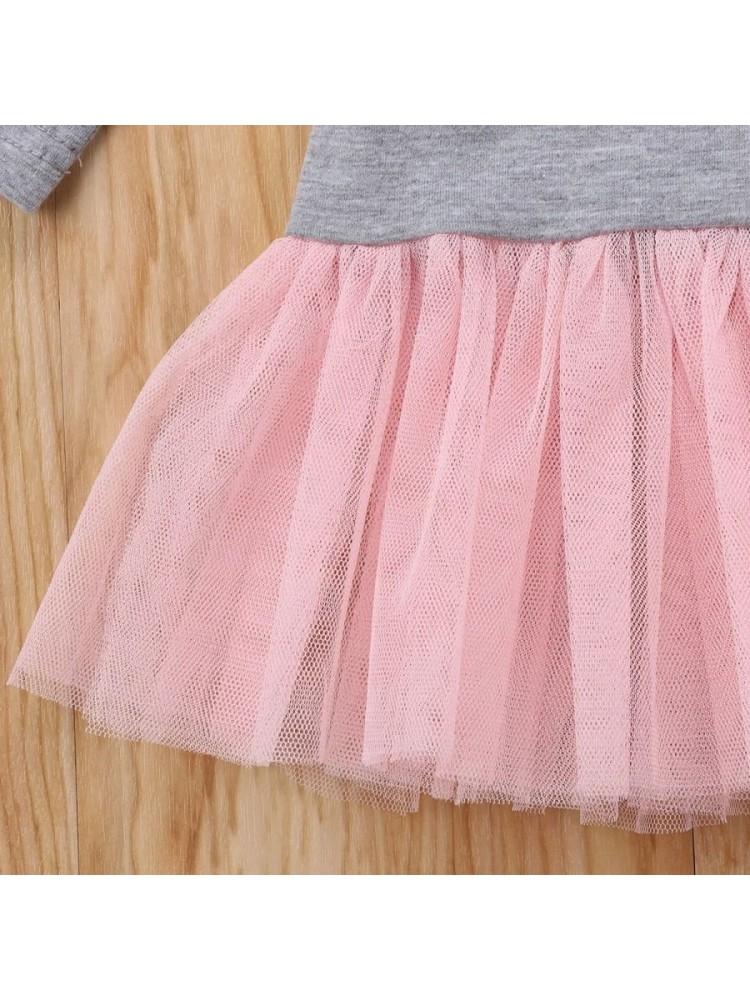 Pilka suknelė mergaitei su rožiniu tiulio sijonu