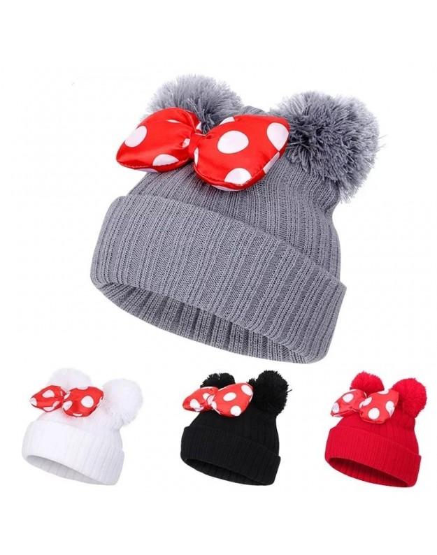 Žieminė kepurė mergaitei su kaspinėliu Mini Juoda