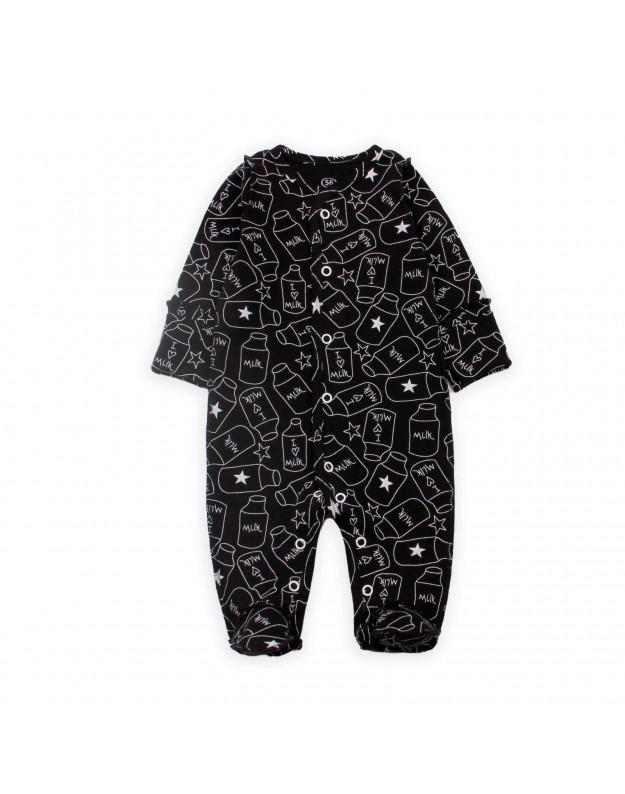 Šliaužtinukai kūdikiui juodi išvirkštinėmis siūlėmis Milk 56cm