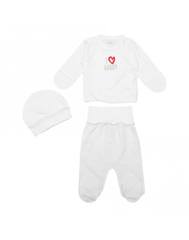 3 dalių kūdikio kraitelis išvirkštinėmis siūlėmis baltas 56cm