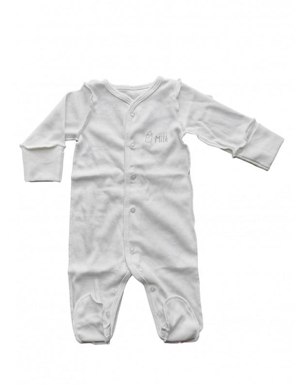 Šliaužtinukai kūdikiui  išvirkštinėmis siūlėmis  Milk Balti