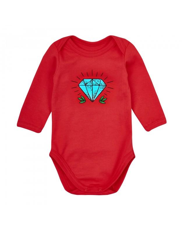 Smėlinukai kūdikiui raudoni ilgomis rankovėmis Deimantas 74cm
