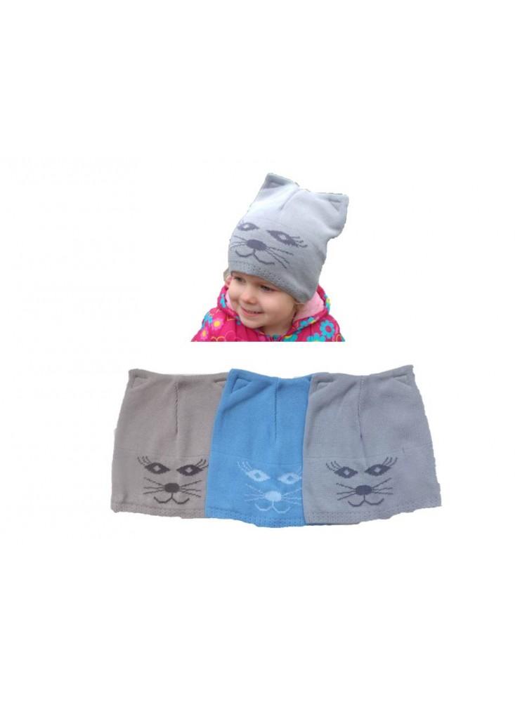 Šiltos kepurės megztos Katinukas (2 - 5 metai)