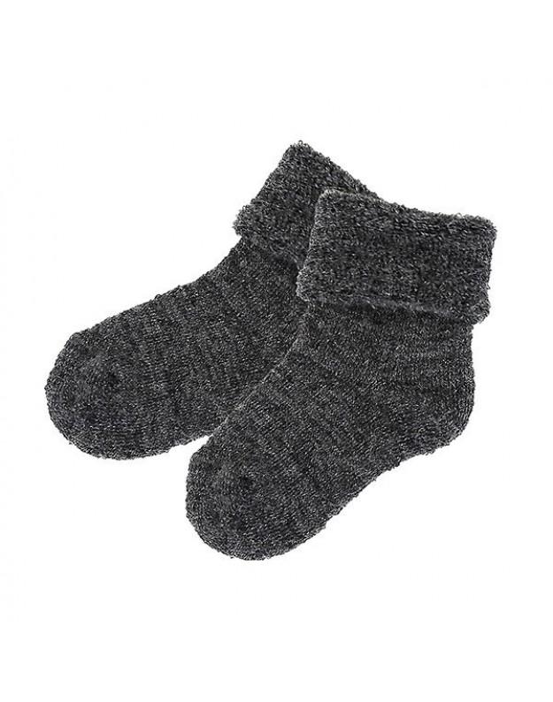 Merino vilnos kojinės kūdikiui pilkos 10cm