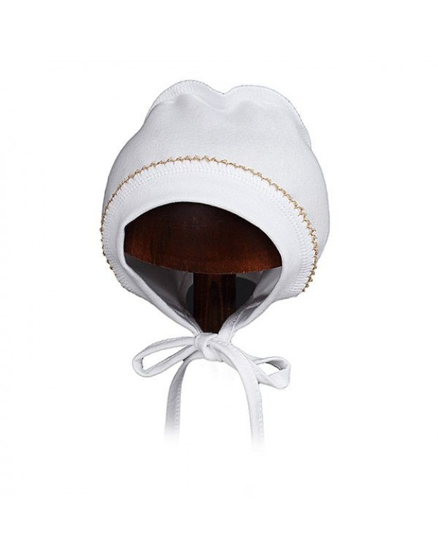 Balta kepurytė kūdikiui išvirkštinėmis siūlėmis