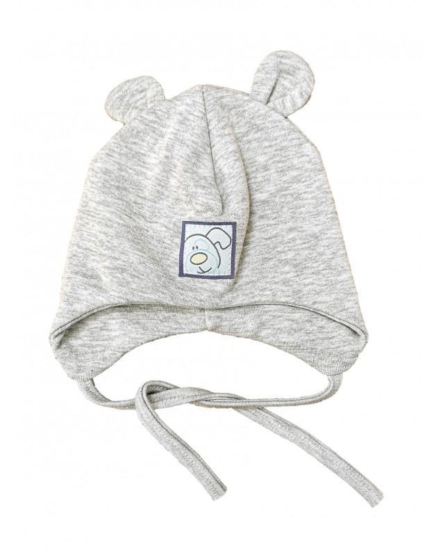 Pavasarinė dviguba kepurė kūdikiui su ausytėmis šuniukas