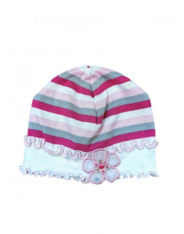 Vasarinė dryžuota kepurė mergaitei