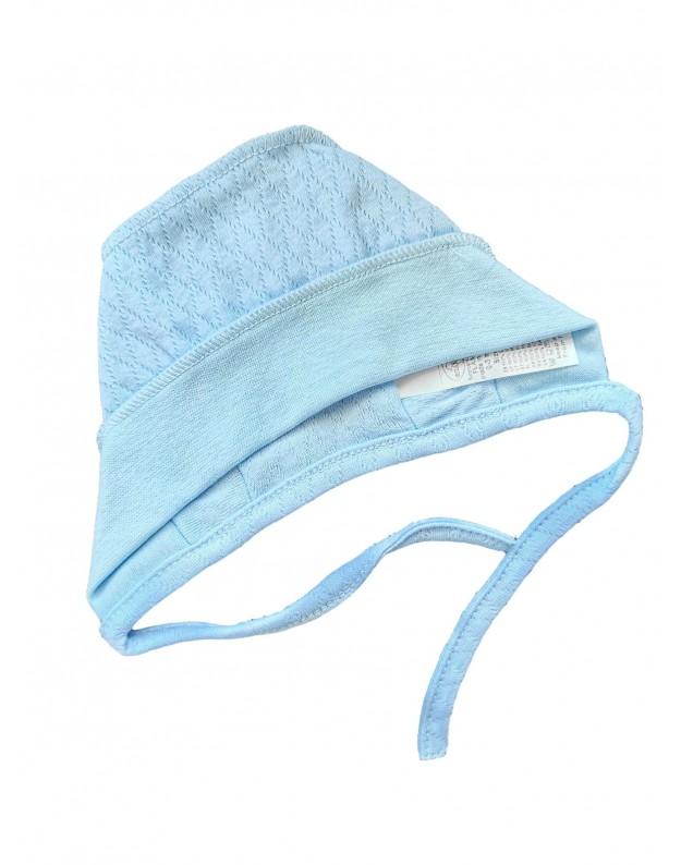 Plona kepurė kūdikiui išvirkštinėmis siūlėmis žydra