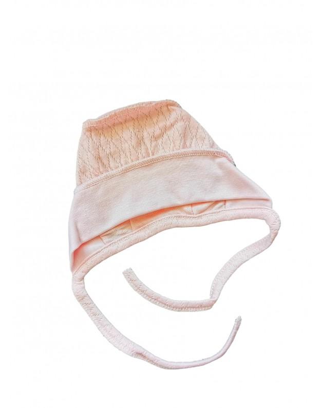 Plona kepurė kūdikiui išvirkštinėmis siūlėmis rožinė