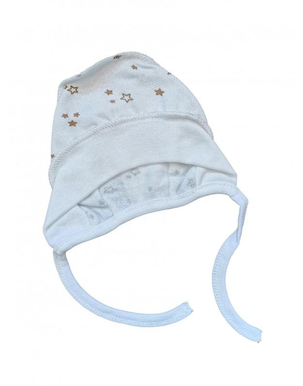 Šiltinta kepurė kūdikiui išvirkštinėmis siūlėmis žvaigždutės