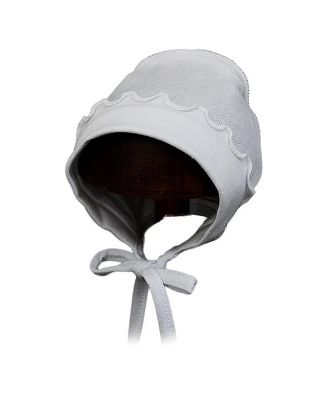 Kepurytė kūdikiui išvirkštinėmis siūlėmis balta