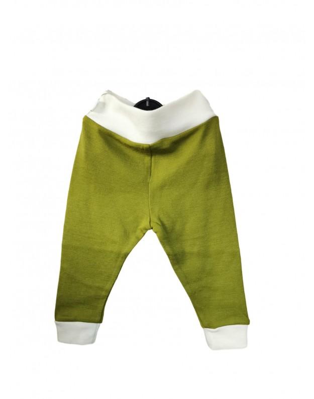 Žalios merino vilnos kelnytės be pėdučių kūdikiui