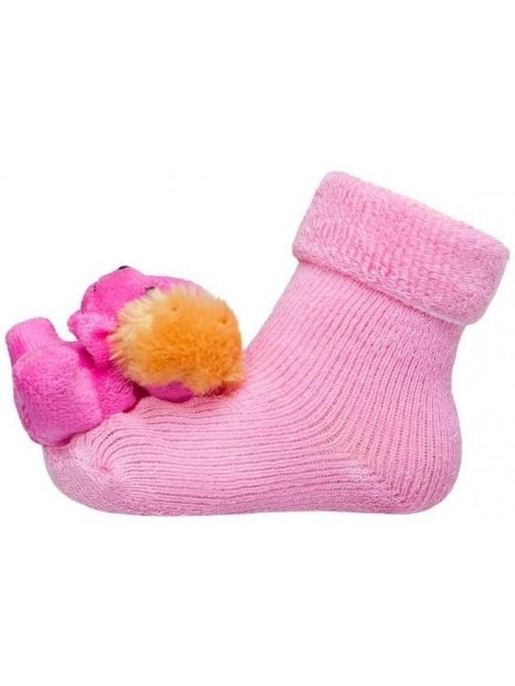 Frotinės kojinytės kūdikiui su meškučiu barškučiu rožinės