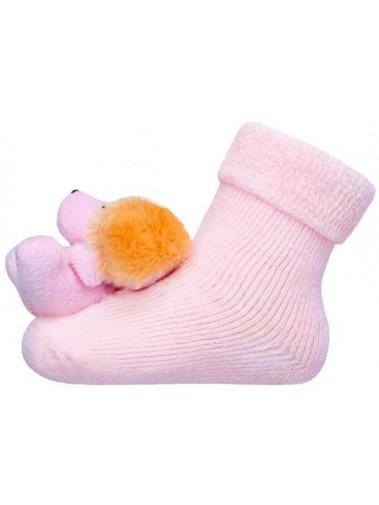 Frotinės kojinytės kūdikiui su meškučiu barškučiu šviesiai rožinės