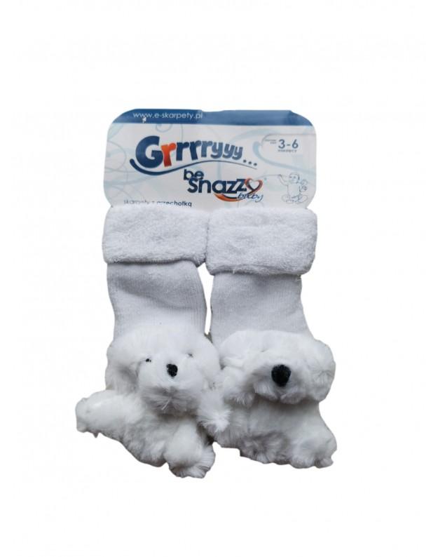 Frotinės kojinytės kūdikiui su meškučiu barškučiu baltos