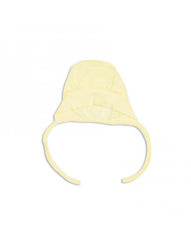 Geltona kepurė kūdikiui išvirkštinėmis siūlėmis