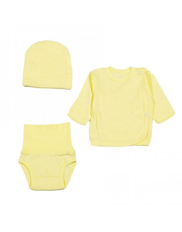 3 dalių geltonas žakardo komplektukas kūdikiui