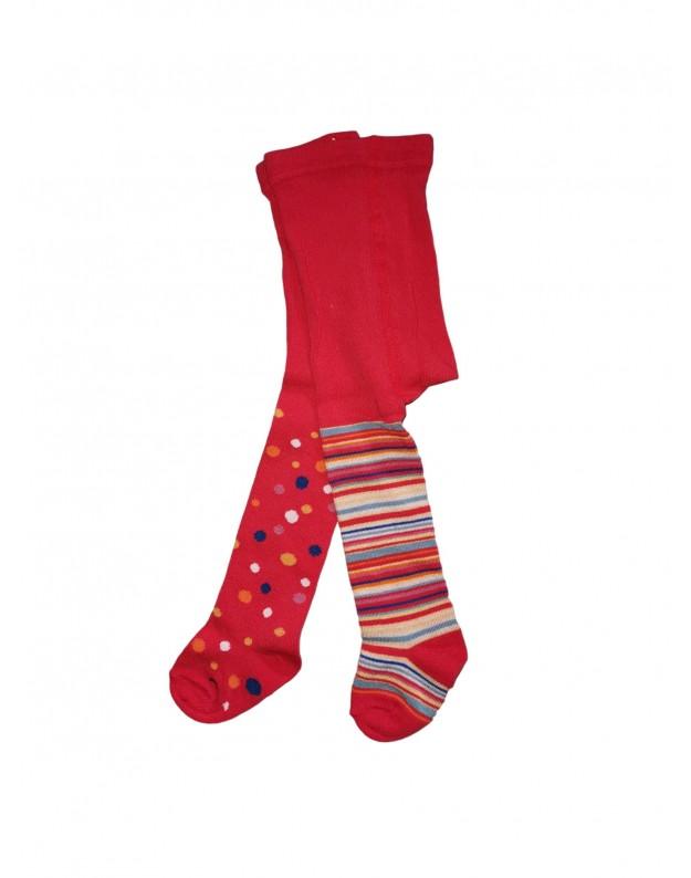 Raudonos pėdkelnės skirtingos tašeliai dryžiai