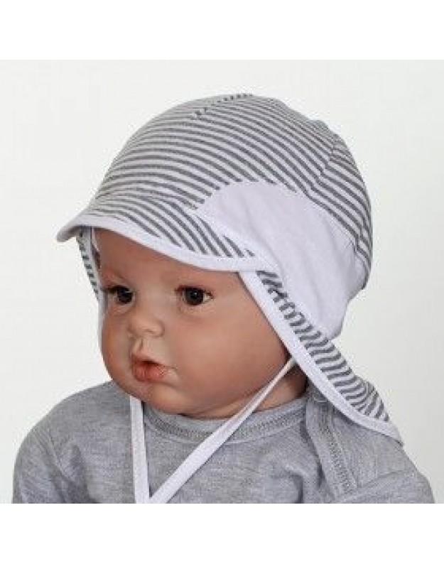 Vasarinė pilka kepurė kūdikiui su kaklo uždengimu