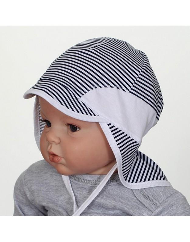 Vasarinė dryžuota kepurė kūdikiui su kaklo uždengimu