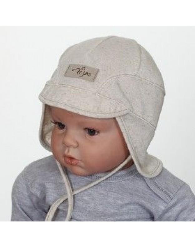 Vasarinė lininė kepurė kūdikiui su kaklo uždengimu