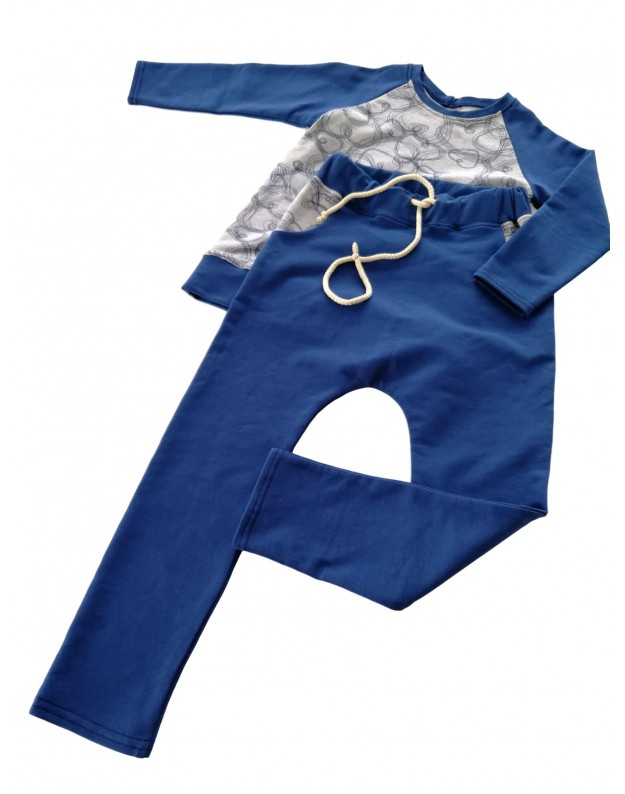 Mėlynas komplektukas vaikui (rankų darbo) 104cm