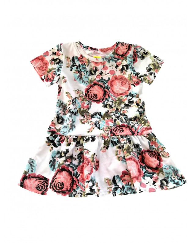 Gėlėta suknelė mergaitei trumpomis rankovėmis