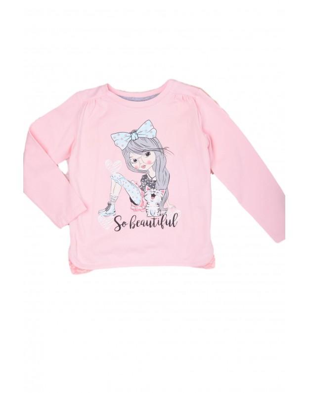 Rožiniai marškinėliai mergaitei su nėriniais