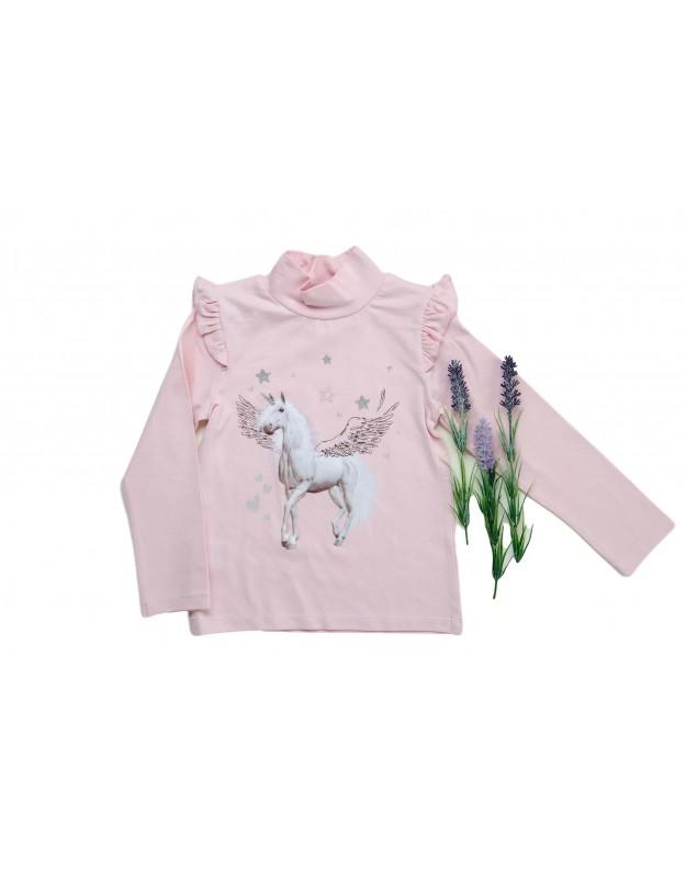 Rožinis golfas marškinėliai mergaitei Unicorn 128cm