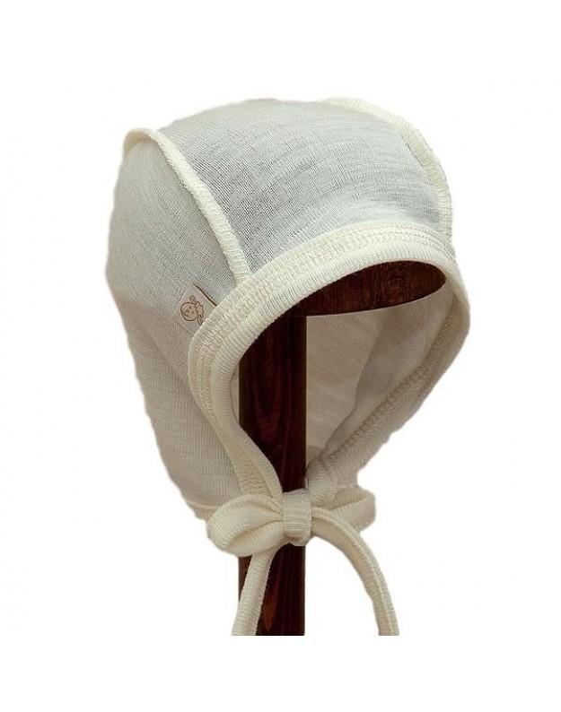 Merino vilnos plona kepurytė išvirkštinėmis siūlėmis kūdikiui
